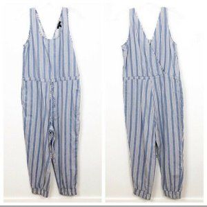 Drew Womens Jumpsuit Blue Striped Cropped Pant